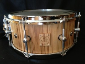 """006 - 6"""" x 13"""" Spalted Hickory Stave Snare"""