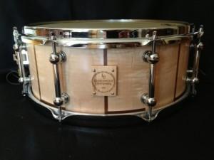 "009 - 5.75""x14"" Maple & Black Walnut Concert Stave Snare"
